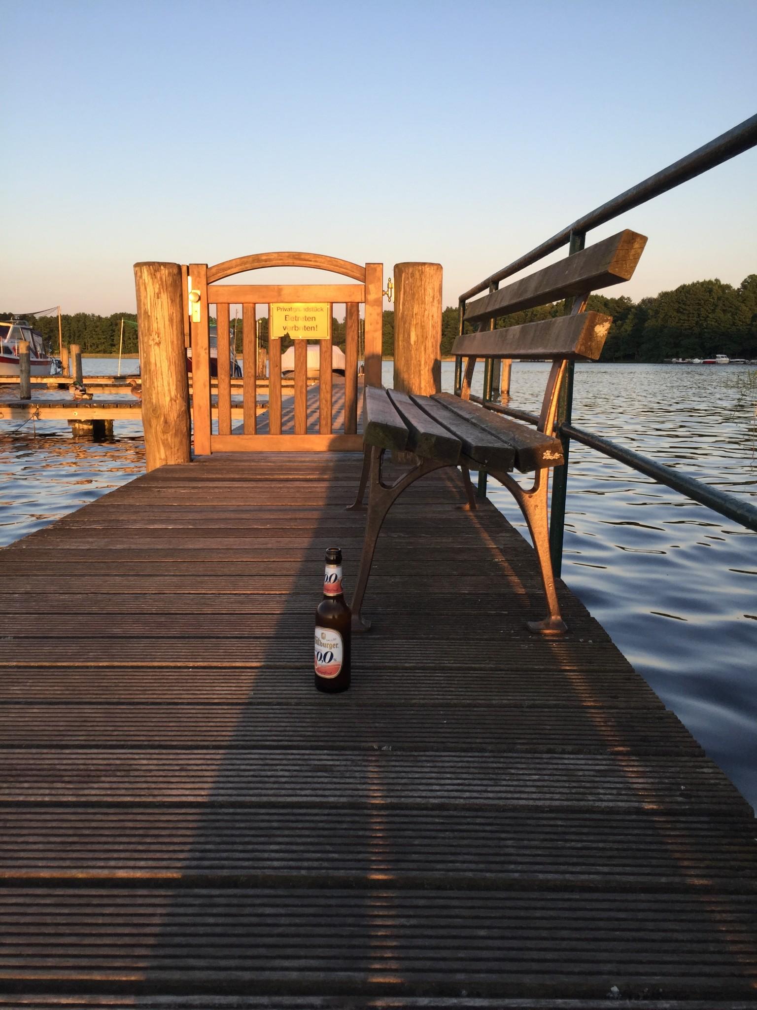 Abends am Pälitzsee im Juni 2016 am Steg